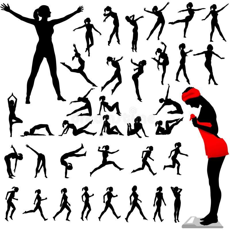 Dança do Aerobics dos Calisthenics das mulheres da aptidão ilustração do vetor