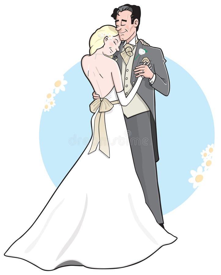 Dança do casamento da noiva & do noivo ilustração stock