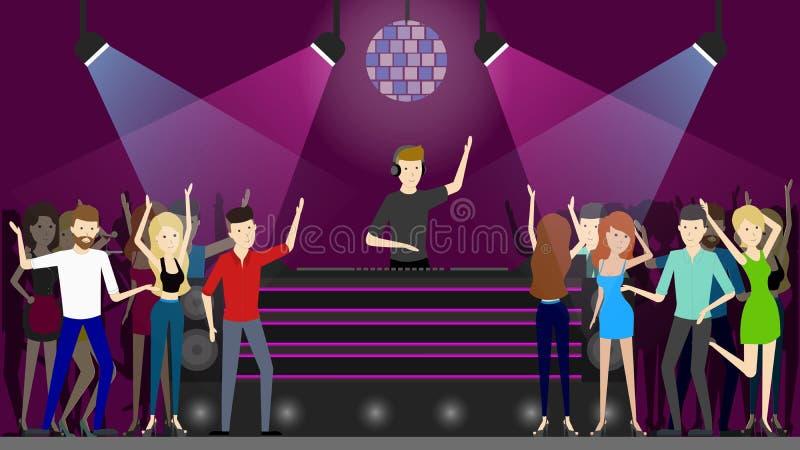 Dança do clube noturno ilustração do vetor