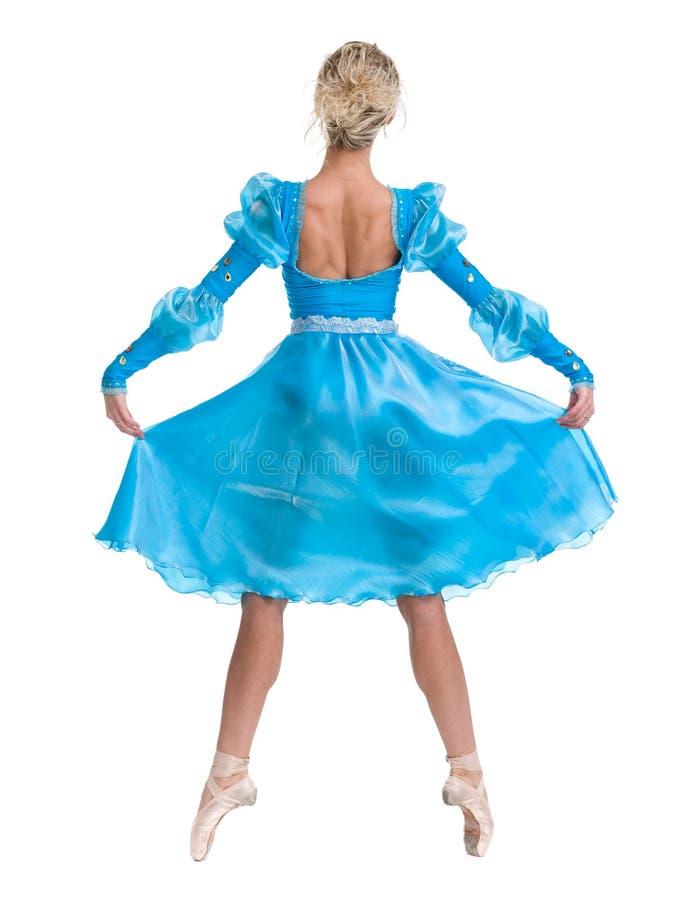 Dança do dançarino de bailado da bailarina da jovem mulher no fundo branco fotografia de stock
