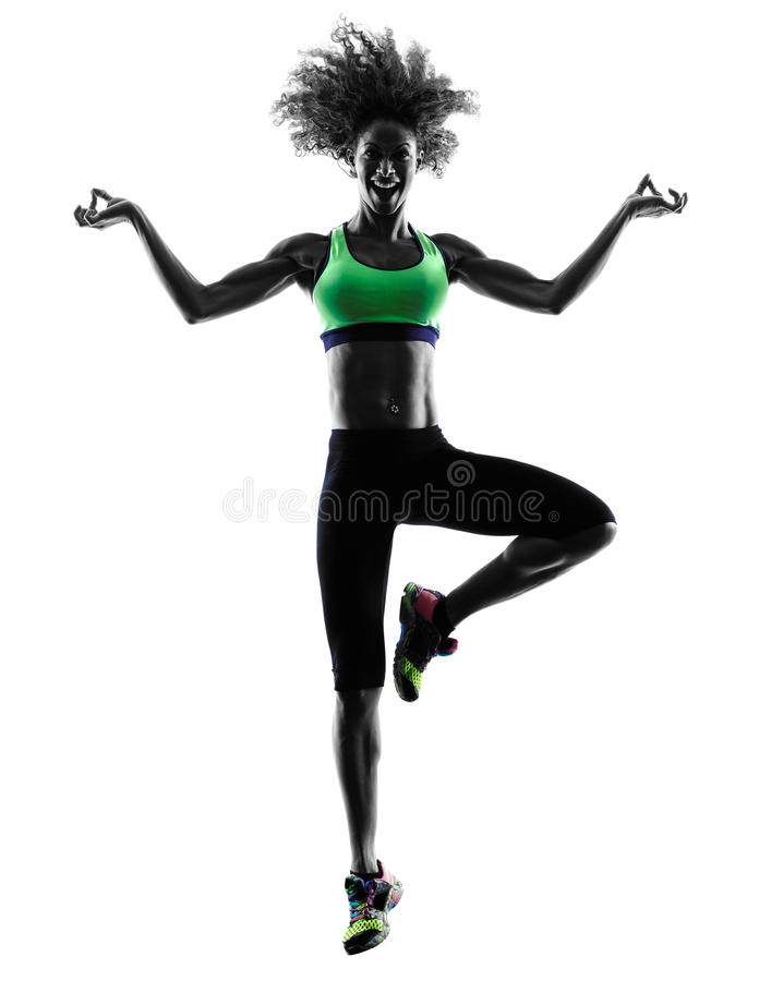 A dança do dançarino do zumba da mulher exercita a silhueta fotografia de stock royalty free