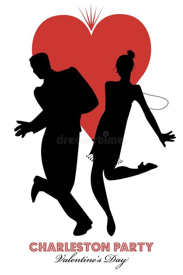 Dança do dia de Charleston Party Valentine ilustração royalty free