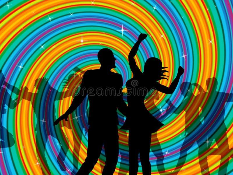 A dança do disco indica o dançarino Music And Discotheque ilustração royalty free