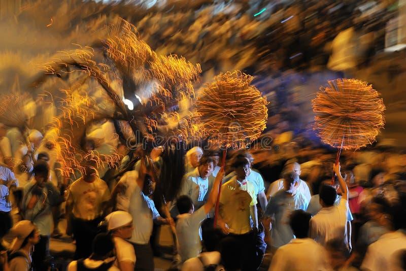 Dança do dragão do incêndio em Hong Kong imagens de stock