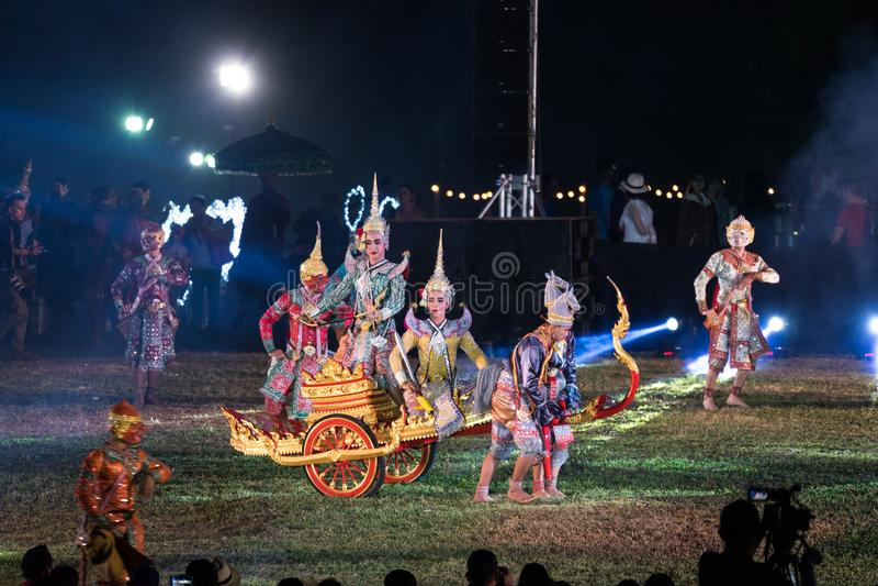 Dança do drama de Khon Ramakien ou de Ramayana foto de stock royalty free