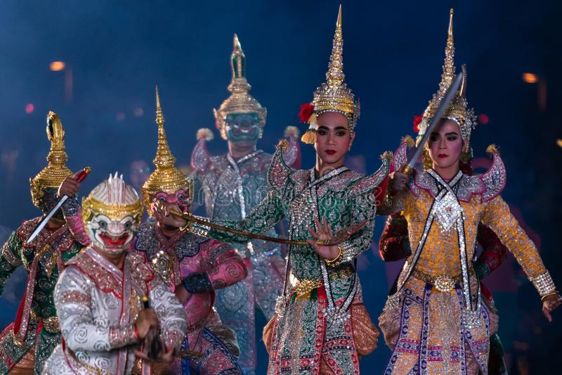Dança do drama de Khon Ramakien ou de Ramayana imagens de stock