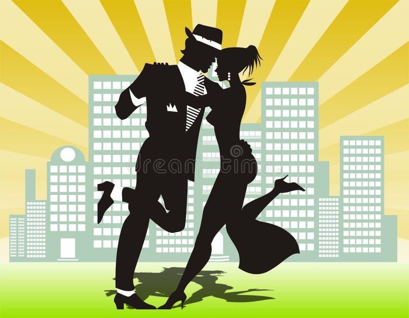 Dança do homem e da mulher ilustração royalty free