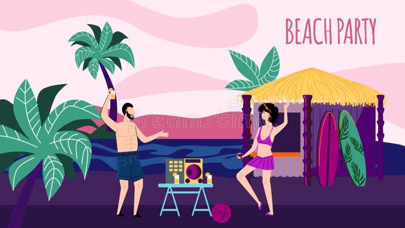 Dança do homem novo e da mulher na noite Sandy Seaside ilustração royalty free