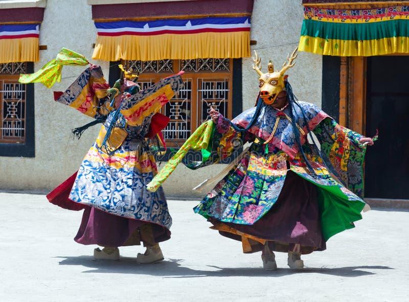 Dança do homem poderoso em Lamayuru Gompa em Ladakh, Índia norte imagem de stock royalty free