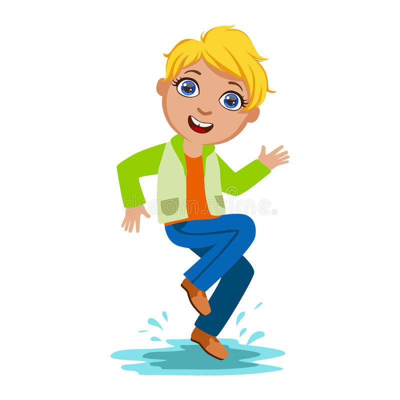 A dança do menino que espirra a água, criança na chuva de Autumn Clothes In Fall Season Enjoyingn e tempo chuvoso, espirra e pudl ilustração royalty free