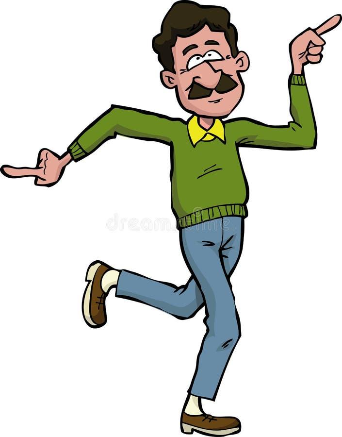 Dança do paizinho dos desenhos animados ilustração stock