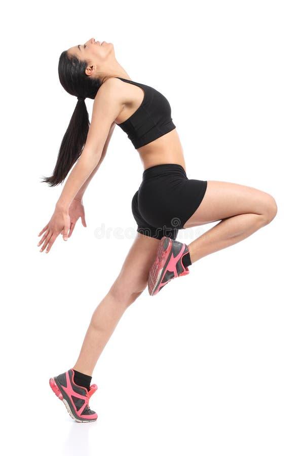 Dança do perfil da mulher da aptidão que faz exercícios aeróbios fotografia de stock royalty free