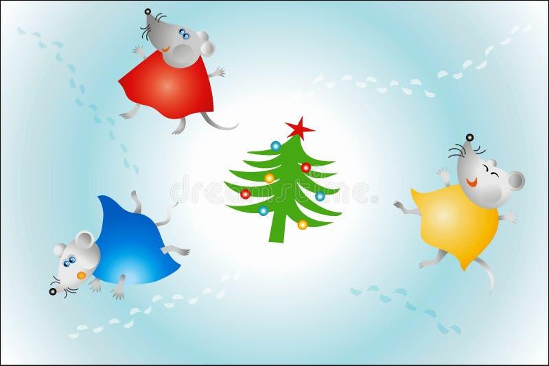 Dança do rato em torno da árvore de Natal 2008 ilustração stock