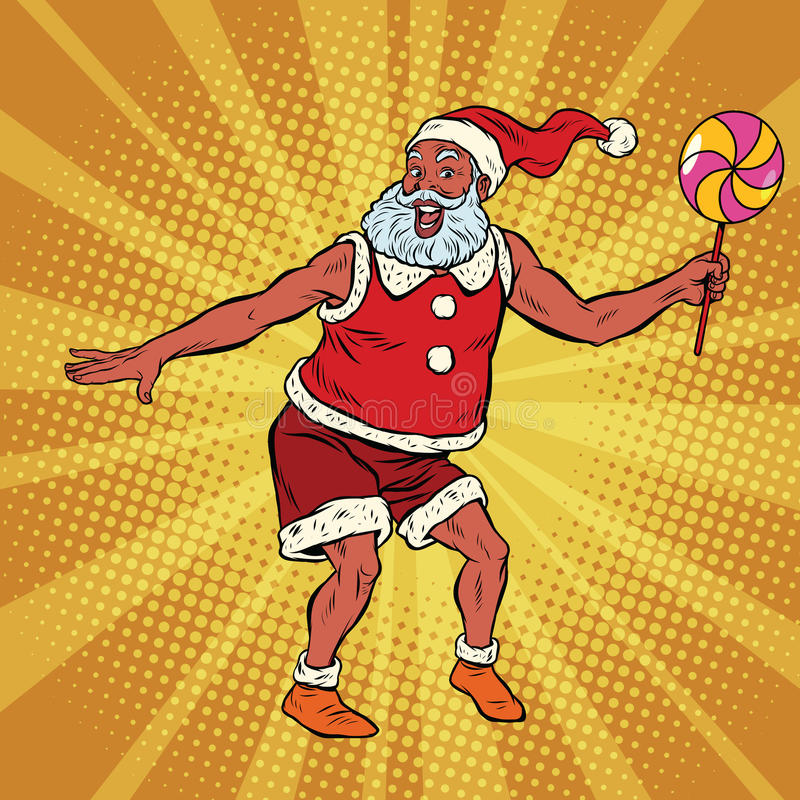 Dança do sul de Santa Claus com pirulito ilustração royalty free