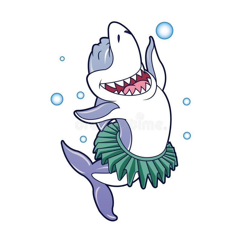 Dança dos desenhos animados do tubarão ilustração stock