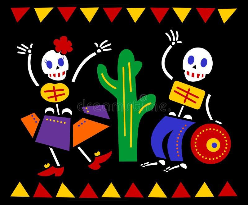 Dança dos esqueletos de Diâmetro de los Muertos ilustração stock