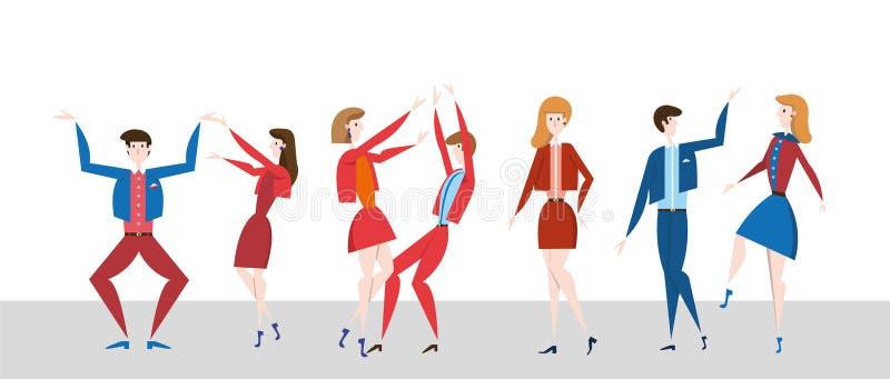 Dança dos jovens no dancefloor Partido da noite do disco Ilustration liso colorido do vetor, horizontal ilustração do vetor