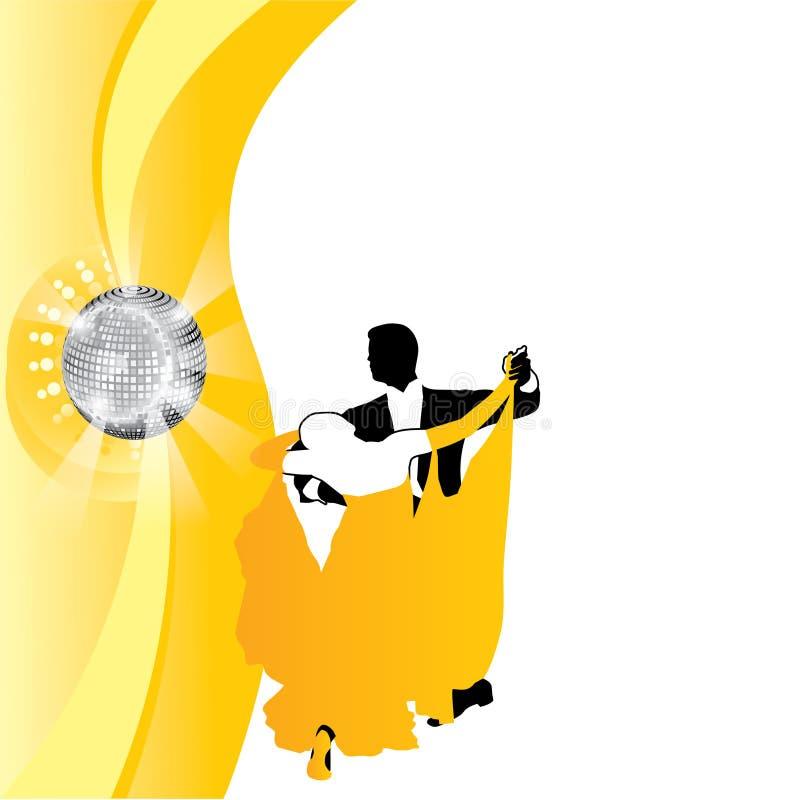 Dança dos pares do fundo no amarelo ilustração stock