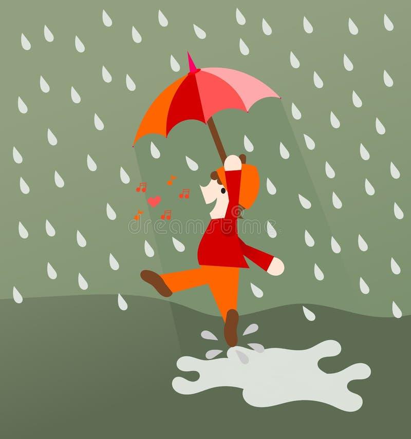 Dança e canto na chuva ilustração stock