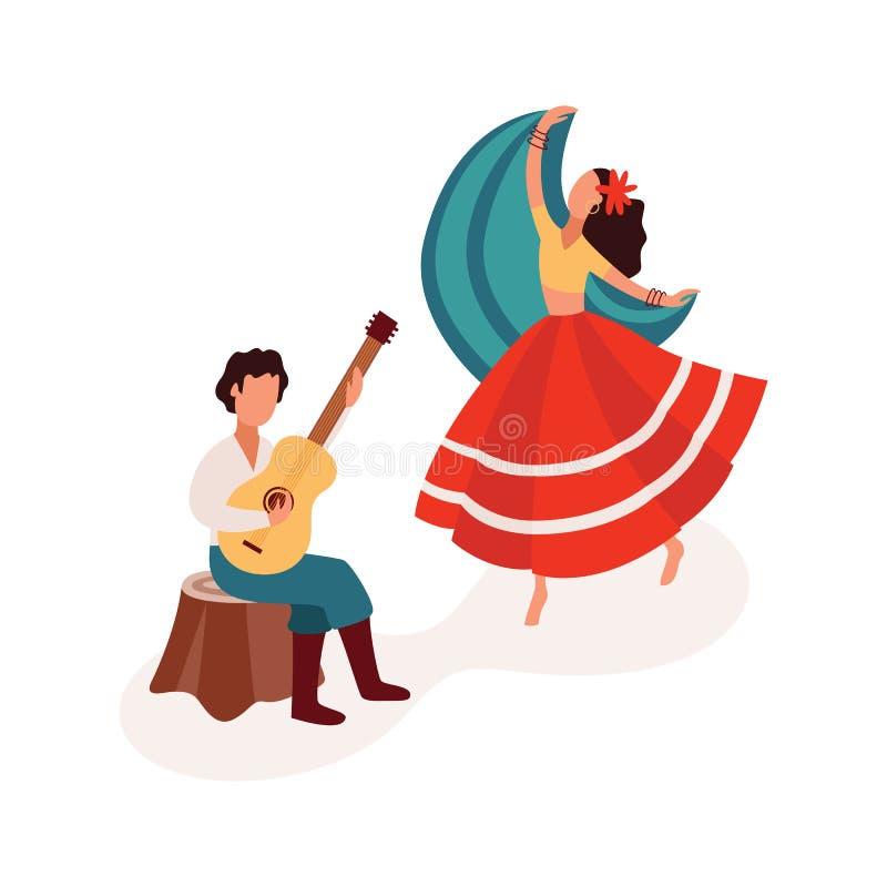 A dança e o jogo da ilustração lisa do vetor dos desenhos animados dos pares aciganados da guitarra isolaram-se ilustração stock