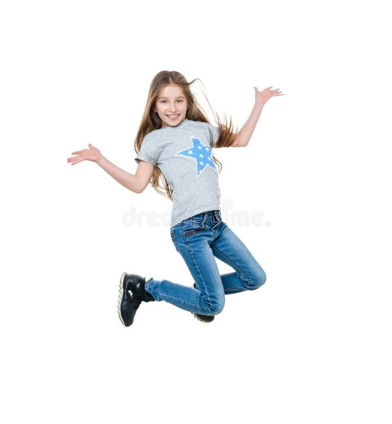 Dança e salto da menina do Preteen, isolados imagem de stock