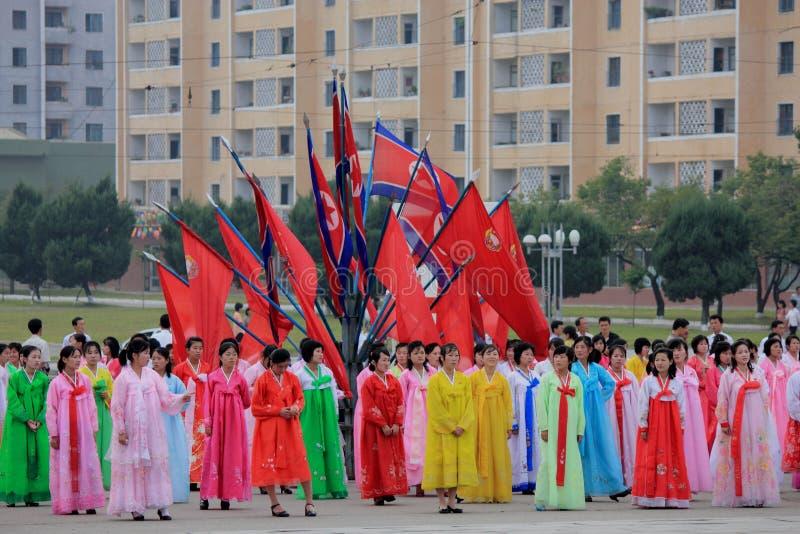 Dança em massa no feriado nacional 2011 no DPRK foto de stock royalty free