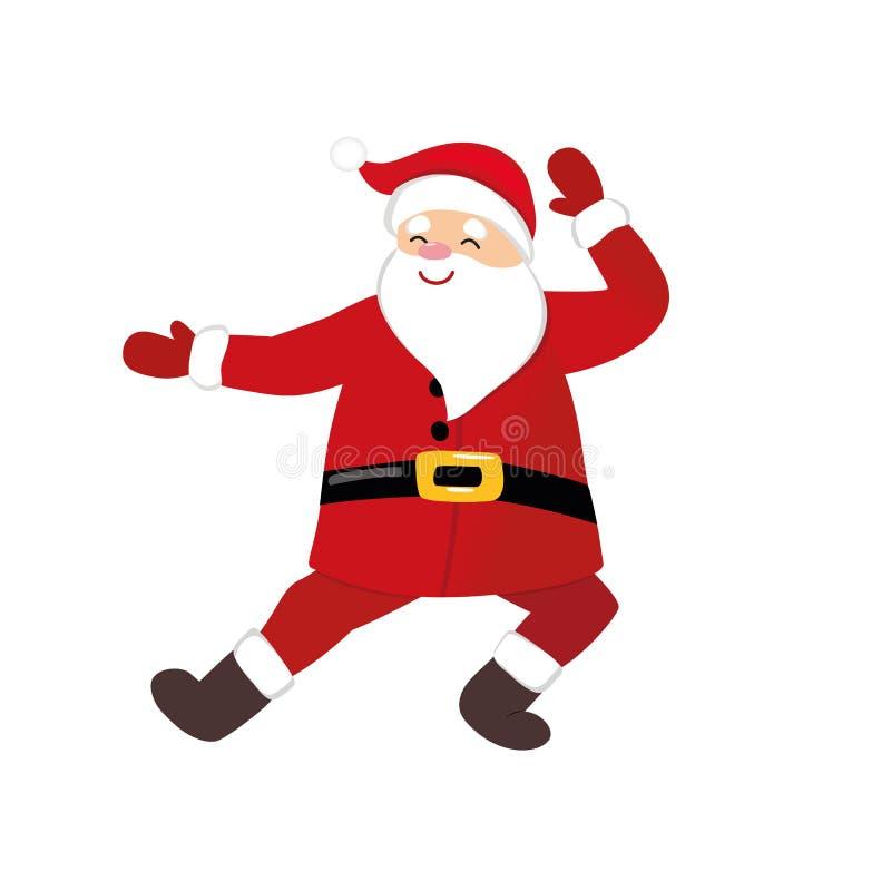 Dança engraçada de Santa dos desenhos animados, caráter cômico sutil foto de stock royalty free