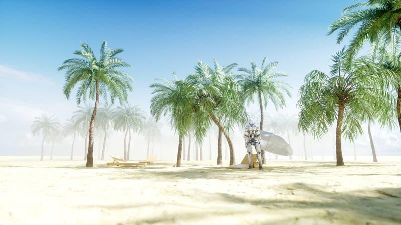 Dança engraçada do robô no beira-mar ensolarado Conceito do turismo e do resto rendição 3d ilustração royalty free