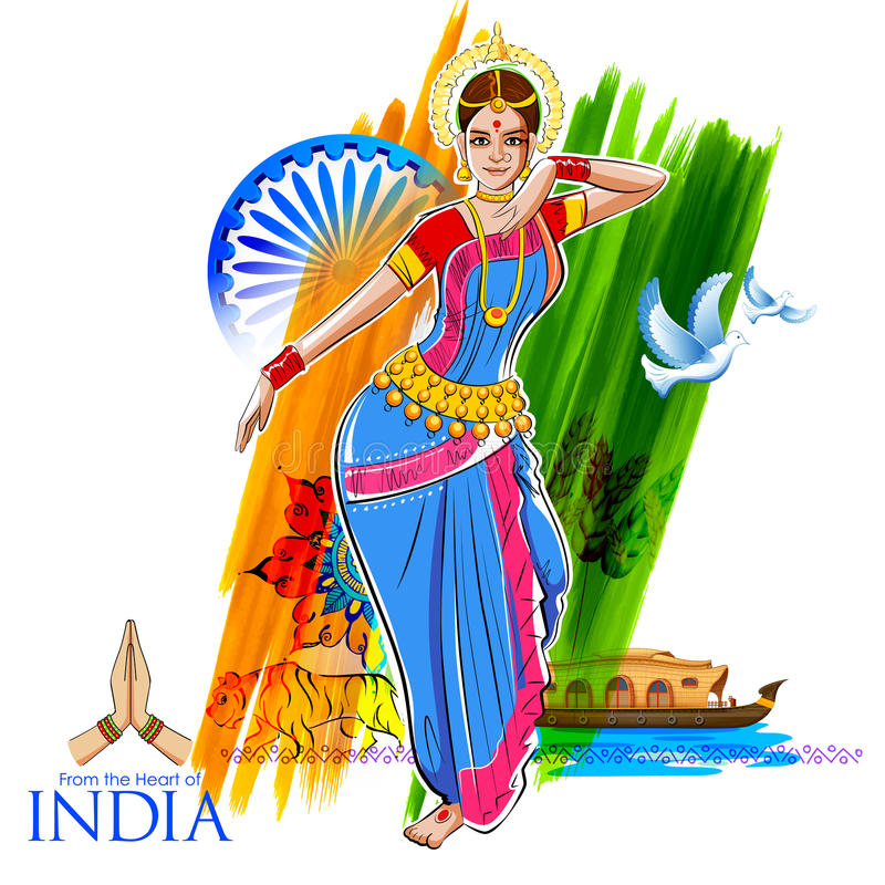 Dança fêmea do dançarino no fundo indiano que mostra a cultura colorida da Índia ilustração stock