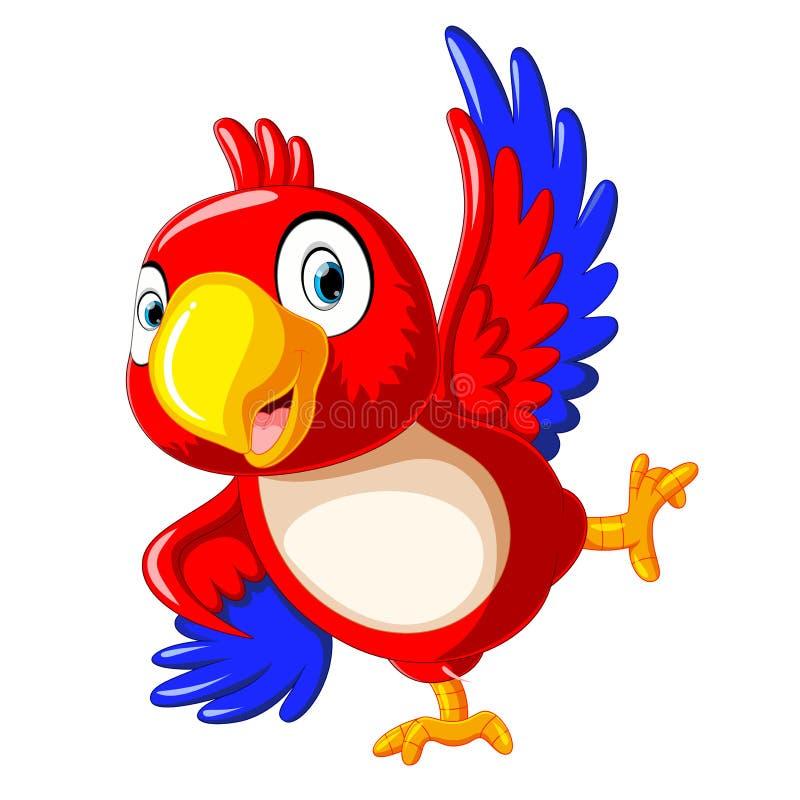 Dança feliz dos desenhos animados do papagaio ilustração do vetor