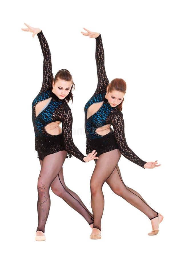 Dança graciosa dos gymnasts fotografia de stock royalty free