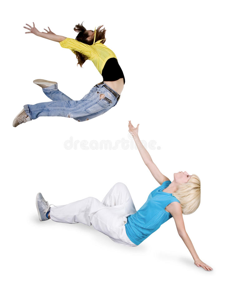 Dança hip-hop de Teenagersl sobre o fundo branco fotos de stock royalty free