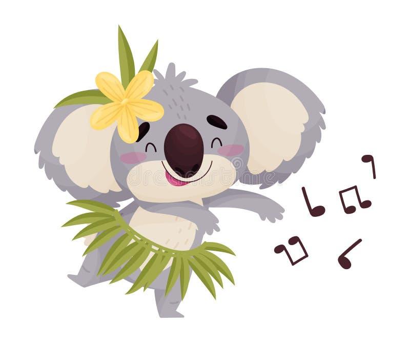 Dança humanizada bonito da coala dos desenhos animados Ilustra??o do vetor no fundo branco ilustração do vetor