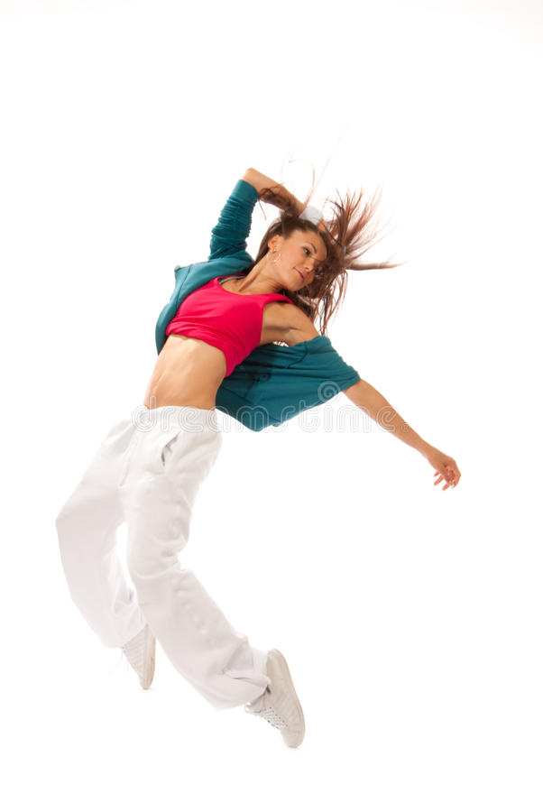 Dança magro consideravelmente moderna da mulher do estilo de hip-hop fotos de stock