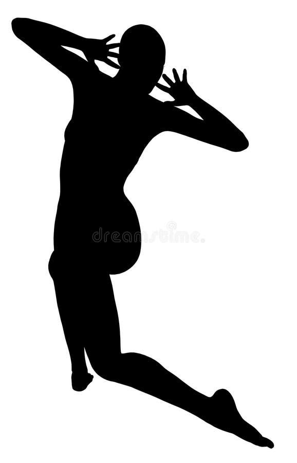 Dança mostrada em silhueta da mulher ilustração do vetor