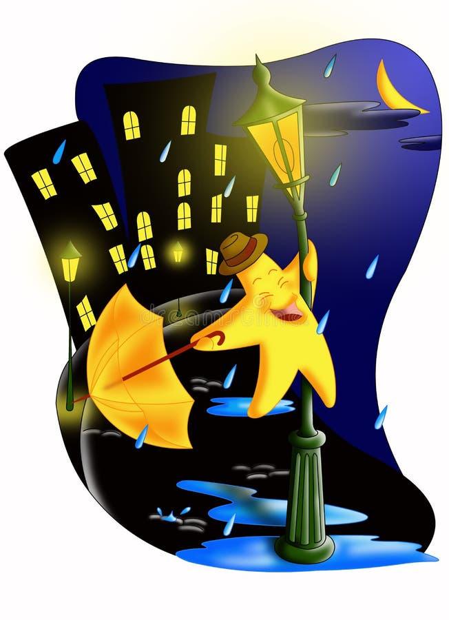 Dança na chuva ilustração royalty free