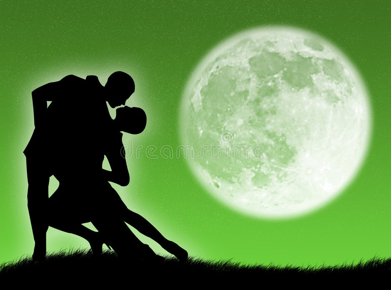 Dança na lua ilustração do vetor