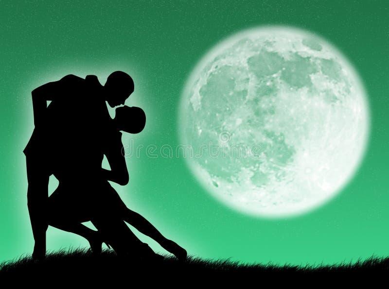 Dança na lua ilustração royalty free
