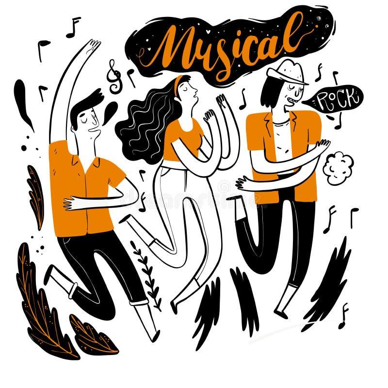 Dança no festival de música ilustração do vetor