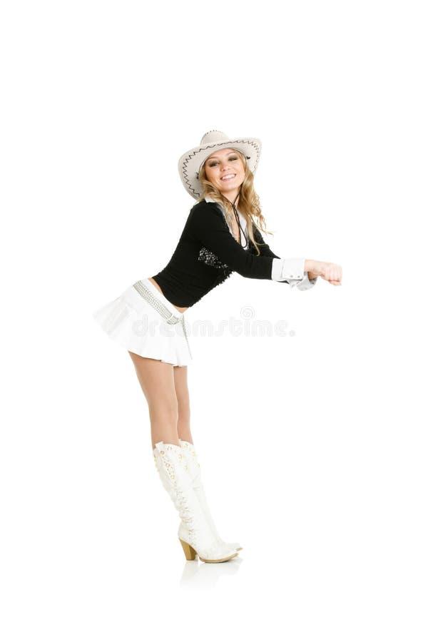 Dança nova da mulher do cowgirl imagens de stock