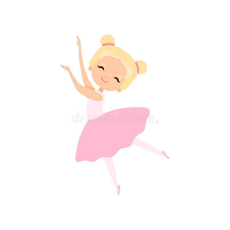 Dança pequena bonito da bailarina, dançarino de bailado Character da menina na ilustração cor-de-rosa do vetor do vestido do  ilustração do vetor