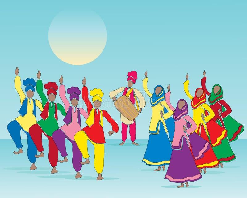 Dança popular do Punjabi ilustração stock