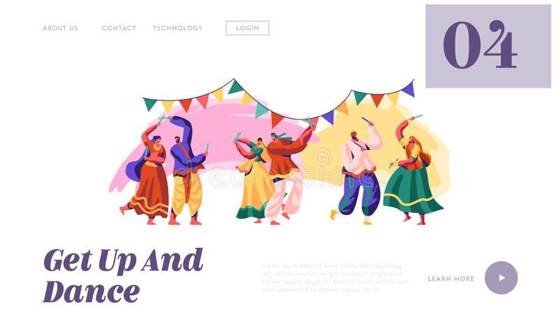 Dança popular indiana na página nacional da aterrissagem do festival Dançarino Performing do homem e da mulher na mostra asiática ilustração royalty free