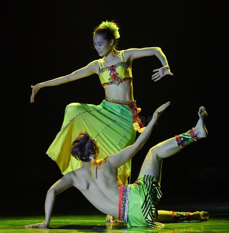 A dança popular nacional dos pares- do sombra-Dai de árvore de banana imagem de stock