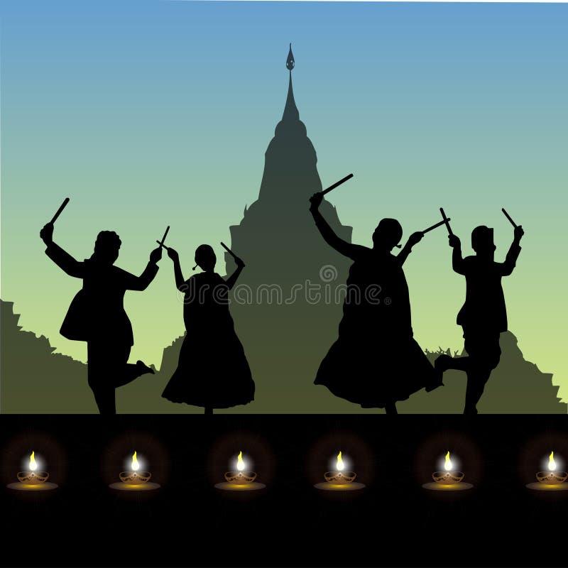 Dança popular, navratri ilustração stock