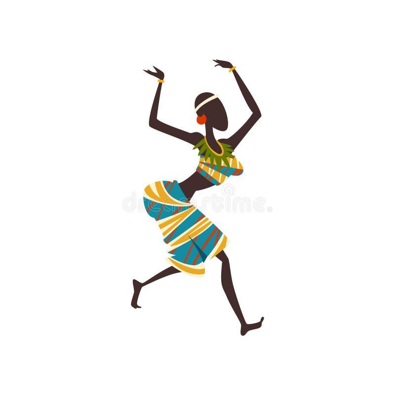 Dança popular ou ritual da dança africana da menina, dançarino aborígene da mulher na ilustração étnica tradicional do vetor da r ilustração royalty free