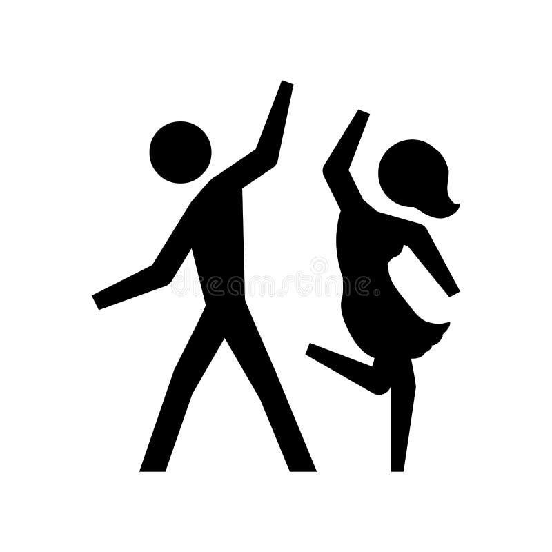 Dança preta dos pares do pictograma da silhueta ilustração do vetor
