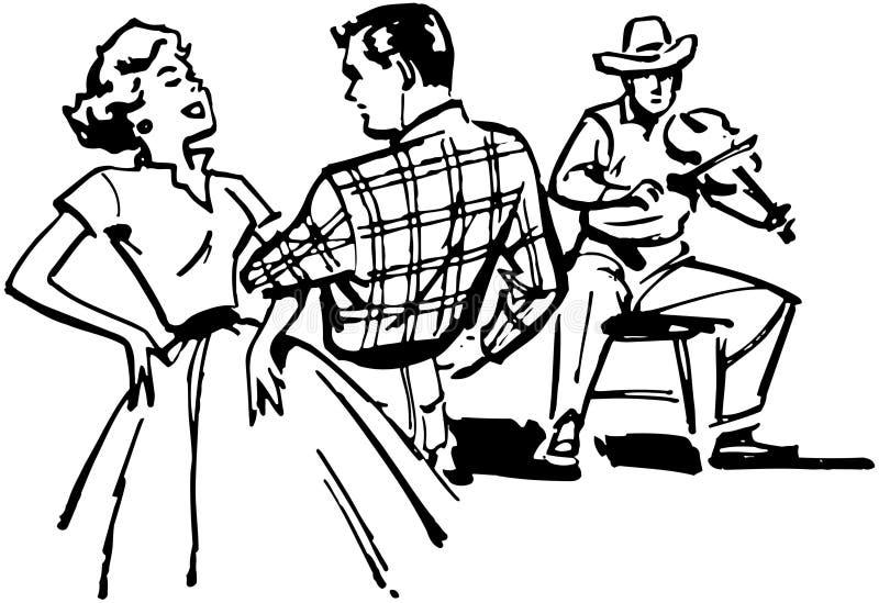 Dança quadrada dos pares ilustração stock