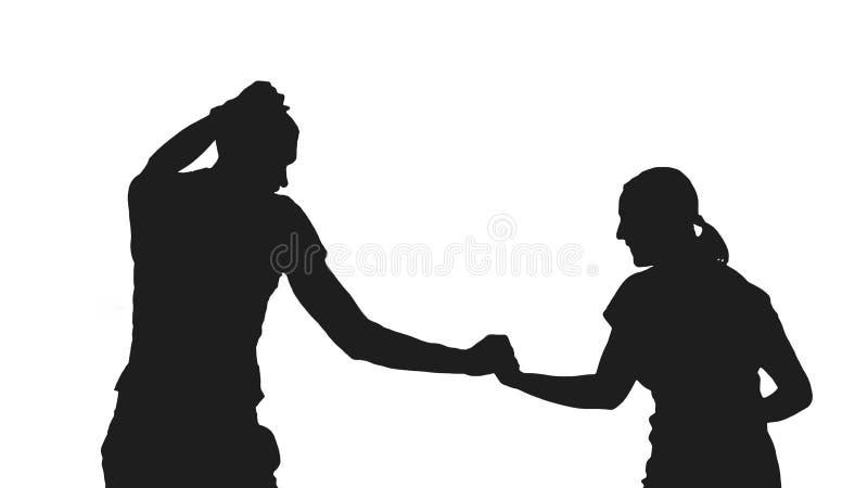 Dança romântica da silhueta dos pares no fundo branco imagens de stock