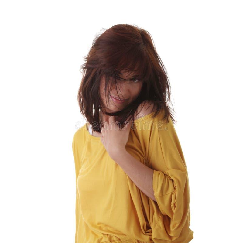 Dança 'sexy' da mulher isolada fotografia de stock